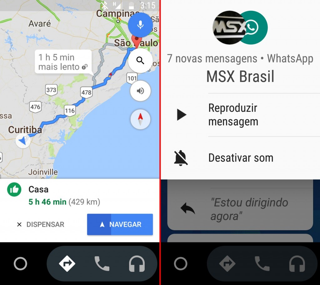 android auto navegacao mensagens